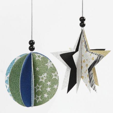 Kugle og stjerne som ophæng af papir med glitter
