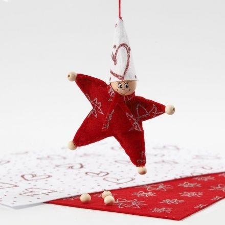 Stjerneformet nisse af filt med glitter