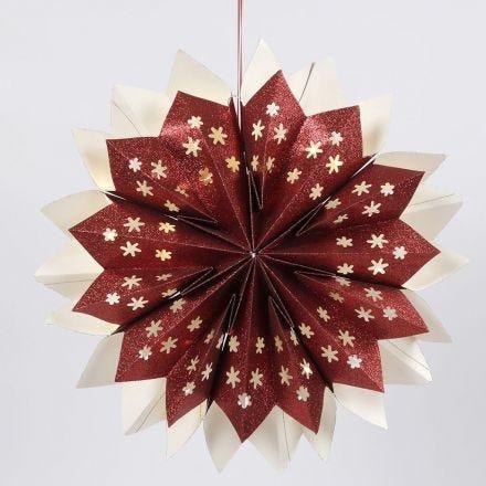 Stjerne af glitrende papirsposer med skjult LED lyskæde