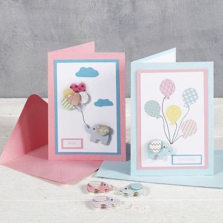 Baby shower kort med elefant og ballon klistermærker