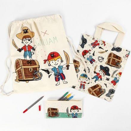 Pirat penalhus, mulepose og skopose dekoreret med tekstiltuscher