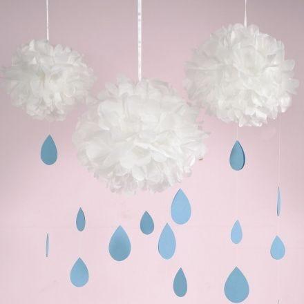 Papirpompon sky med dråber af karton