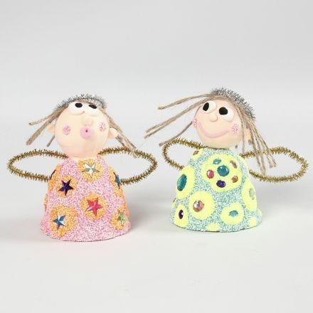 Engel med Foam Clay glitter og Silk Clay