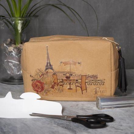 Kosmetikpung af læderpapir med motiv overført med transferark