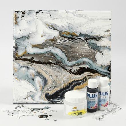 Fluid art på malerlærred med hobbymaling og Pouring-Fluid