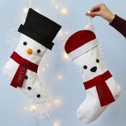 Julesok dekoreret som snemand og isbjørn