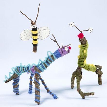 Dyr og insekter lavet af grene, garn og Sticky Base