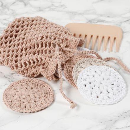 Hæklede vatrondeller og vaskepose