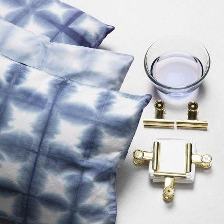 Batik med metalklemmer og shibori teknik