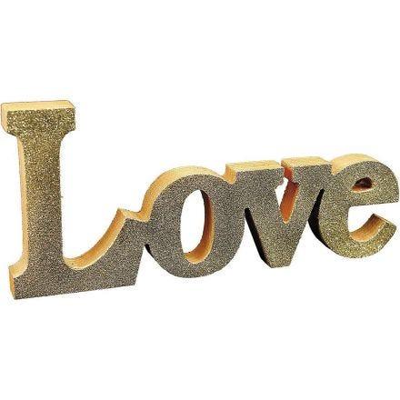 Dekorationsord 'Love' malet og dekoreret med glitter