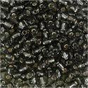 Rocaiperler, diam. 4 mm, str. 6/0 , hulstr. 0,9-1,2 mm, klar grå, 25 g/ 1 pk.