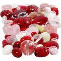 Glasperler, mariehøns, blade, hjerter, str. 5-22 mm, hulstr. 0,5-1,5 mm, ass. farver, 60 g/ 1 pk.