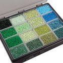 Rocaiperler, diam. 3+4 mm, str. 6/0+8/0 , hulstr. 0,6-1,0+0,9-1,2 mm, ass. farver, 16x100 g/ 1 pk.