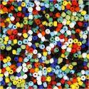 Rocaiperler, diam. 4 mm, str. 6/0 , hulstr. 0,9-1,2 mm, ass. farver, 500 g/ 1 pk.