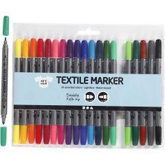 Tekstiltusch, streg 2,3+3,6 mm, standardfarver, 20 stk./ 1 pk.
