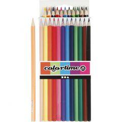 Colortime farveblyanter, L: 17,45 cm, mine 3 mm, ass. farver, 12 stk./ 1 pk.