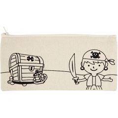 Penalhus, pirat, str. 21x9 cm, 245 g, lys natur, 1 stk.