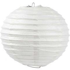 Rispapirlampe, Rund, diam. 20 cm, hvid, 1 stk.