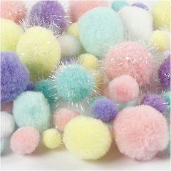 Pomponer, diam. 15-40 mm, glitter, pastelfarver, 62 g/ 1 pk.