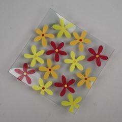 Glasfad med blomster