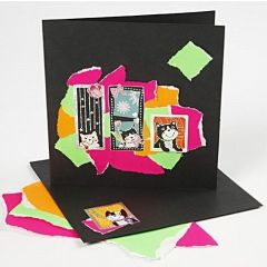 Kort dekoreret med rivepapir og stickers