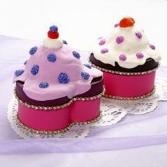 Æske dekoreret som cupcake