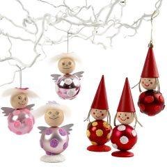 Engle og nisser af julekugler