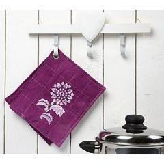 Grydelapper med batik og malet motiv