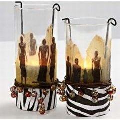Lysglas med serviet decoupage
