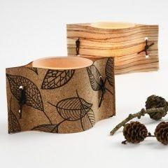 Lysglas med naturmaterialer