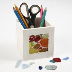 Mosaik på beholder til blyanter