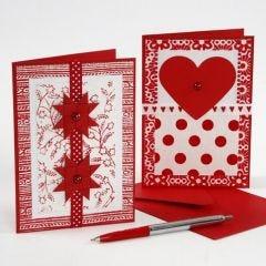 Julekort med pynt af håndlavet papir