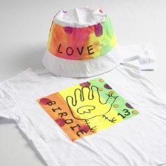Neon tekstilmaling på t-shirt og bøllehat