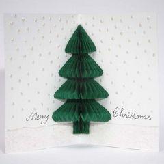 Julekort med grantræ i harmonikapapir