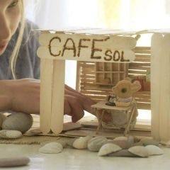 Cafe og interiør af ispinde
