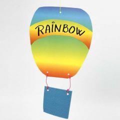 Luftballon af bølgepap og regnbuepapir