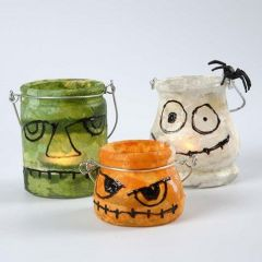Lanterne dekoreret som Frankensteins monster, spøgelse og græskar med silkepapir og 3D Liner