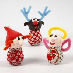Julefigurer af glaspærer, Silk Clay og chenille
