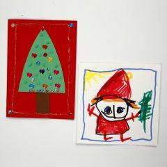 Dekoreret julekort af karton i A5