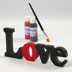 Malet og lakeret dekorationsord - 'Love'