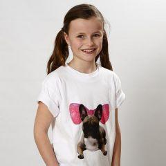 T-Shirt med transfertryk og tuschtegnet grafik