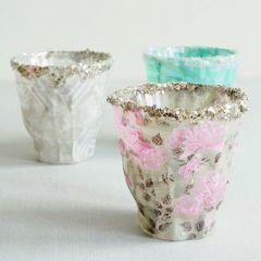 Lysglas med decoupagepapir og glitter