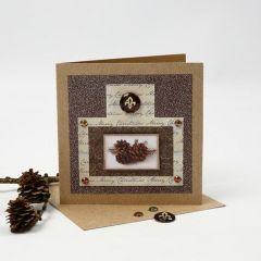 Julekort med glitterfolie, designpapir og cabochon som pynt