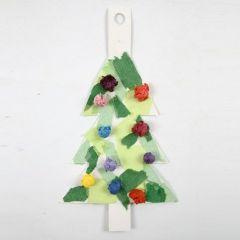 Juletræ af hvid karton med silkepapir