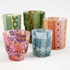 Glas til lys dekoreret med decoupage papir