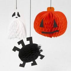 Spøgelse, græskar og edderkop ophæng af harmonikapapir til halloween