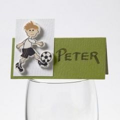 Bordkort med træsticker af fodboldspiller