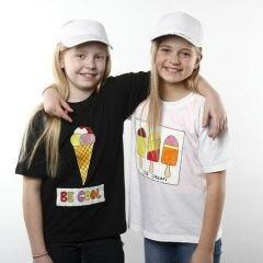 T-shirt med is-motiv, lavet med tekstilmaling