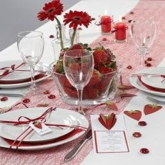 Borddækning og bordpynt med jordbær tema
