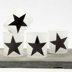 Lysglas med stjerner af blankt designpapir